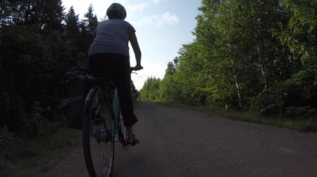ciclismo : Low shot of woman riding on a biking trail in forest Vídeos