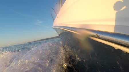 preserver : Riding on a boat at sunset on ocean