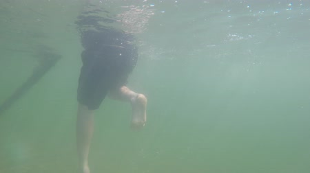 chaluha : Underwater shot man swimming in mountain lake