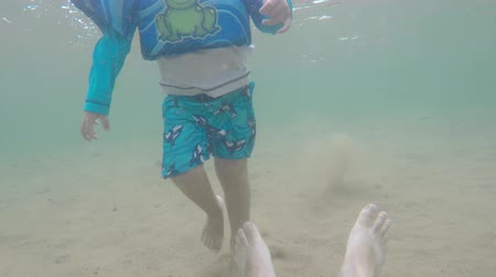 creek : Underwater shot little boy and father swimming on sandy beach Stock Footage