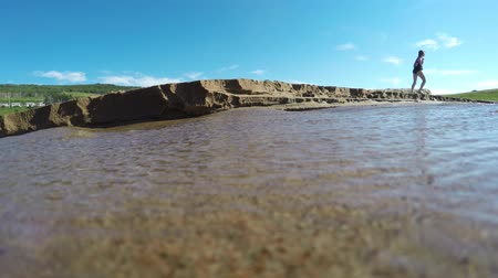 cape breton : Water running into the sandy ocean beach Stock Footage