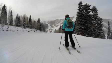 buty : Woman skiing at a mountain resort on a cold winter day