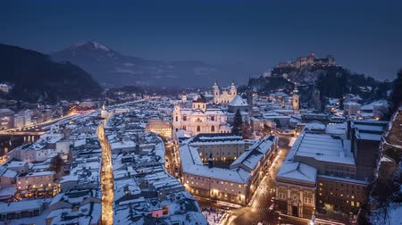 mozart : Salzburg day to night time-lapse in winter, Salzburger Land, Austria