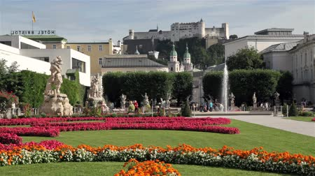 mozart : Salzburg skyline with famous Mirabell Gardens in summer, Salzburger Land, Austria Stock Footage