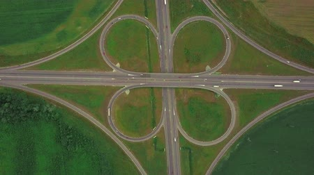 Aerial view of a highway and overpass