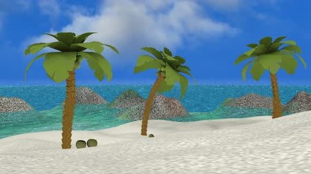 ostrovy : Tropical Paradise Beach (Loop HD). A tropical scenic built in 3D with animated water and palmtrees simulating breeze. Loops so you can repeat it as a background for a DVD, presentation or TV program.