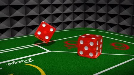 risco : Craps Table (HD) Craps table with dice rolling past camera and bouncing until rest. 3D animation with physics.