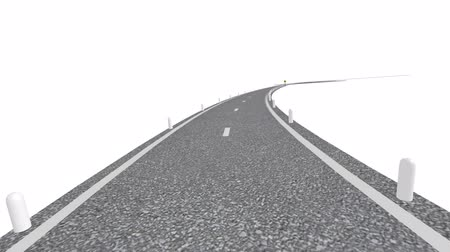 motorkerékpár : Winding Road (HD Animation). Computer rendering of a winding road with signs and posts. Includes Alpha Channel.