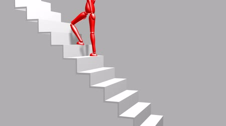 долл : Dummy going Up Stairs (HD). Red dummy 3D figure walking up a flight of stairs. Animated with alpha included.