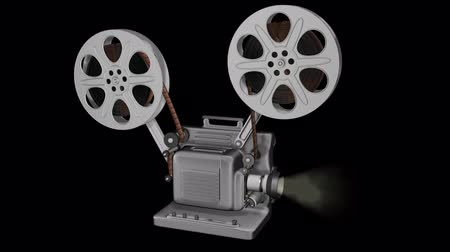 aparat : Movie Projector Animation Loop. Animation of a loop-able realistic 3D Movie projector with smokey lens light and alpha matte channel included at the end of clip to use as a separate object.