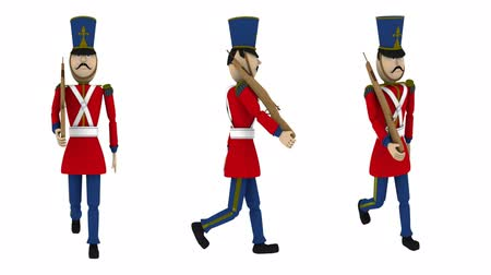 zabawka : Toy Soldier Marching with Alpha (HD). Toy Soldier with rifle in hand marching steadily. Included alpha channel matte track at the end. Crop the video to get one of the three for your video or site.