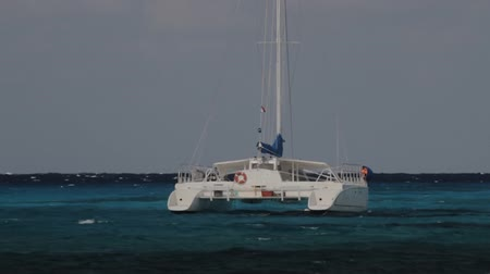 tyrkysový : Catamaran in Caribbean Sea (HD). Catamaran boat used for transportation floating in the Caribbean sea. Every legend, number and name on the boat has been rotoscoped frame by frame to erase it.  Dostupné videozáznamy
