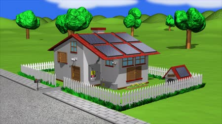 солнечный : Solar Energy Home Animation. Animated scene Hi quality rendering of a sunny scene showing a home with a high degree of solar panels to power it. Rendered with raytracing and fading effects.