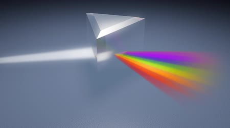 światło : Prism Separating Light Spectrum (HD). A crystal prism bends and separates white light into the seven colors of the rainbow. Slight camera movement and alpha channel included at the end of track. Wideo