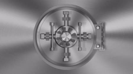 seguro : Bank Vault Transition (HD Video). 720p rendition of a 3D transition of a bank vault door opening with the camera following inside. Green screen is provided in the opening Vídeos