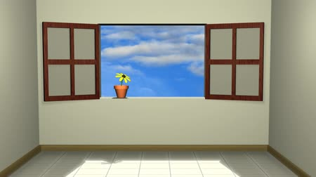 window room : Opening Window (HD). An animation of an opening window with a flower on a pot and a blue cloudy sky moving behind. A metaphor for life and to abandon depression. Room fills with light as window opens.