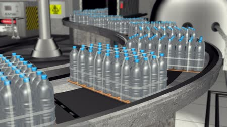 selektif : Water Bottle Factory Animation (HD) Drinking Water Bottle factory line with shipments in crates passing by a conveyor belt line. Camera pans left with shallow depth of field for realistic effect. Stok Video