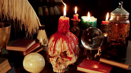 philosopher : Human Skull Candle Studio (HD). Occult study setup desk with a skull chandelier