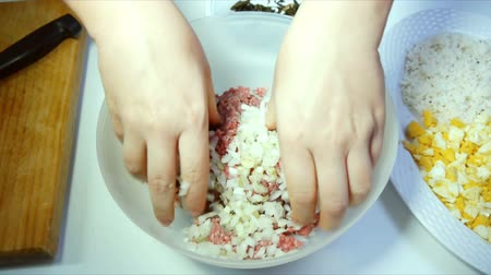 специи : Ground Beef Mixed With Onion Стоковые видеозаписи