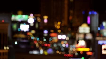боке : Out Of Focus Vegas Strip Casino Lights Wide View. Стоковые видеозаписи