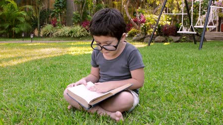 enciclopédia : Kid With Glasses Reading Book (HD) Six year old boy with adult glasses; Hispanic origin flipping the pages of a book sitting on a grassy patch. Stock Footage