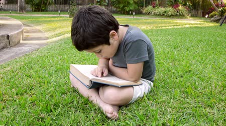 ler : Boy Reading Book (HD). Six year old boy; Hispanic origin flipping the pages of a book while reading to himself sitting on a grassy patch.