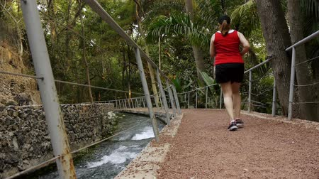 sprintel : Woman Jogging On Path (HD) A woman in her 30s is seen from the back jogging along a path near a channel river.