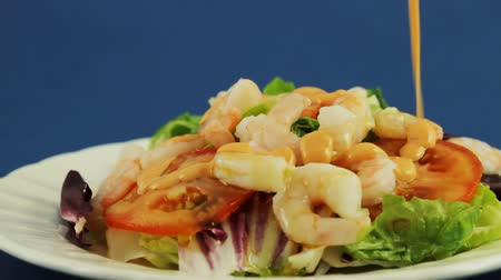 prepared foods : Shrimp Salad With Oil Dripping  Stock Footage