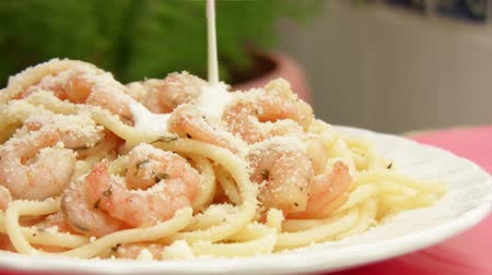 italian food : Shrimp Spaghetti With Cream (HD) Stock Footage