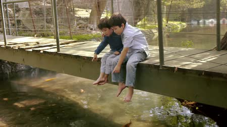 kapr : Boys Point at Koi Fish While Sitting on Bridge. Hispanic Kids are Brothers. Dostupné videozáznamy