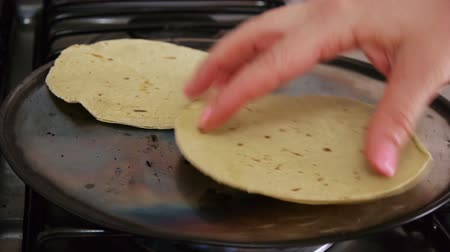 konyhai : Mexican Corn Tortillas Flipped While Heated