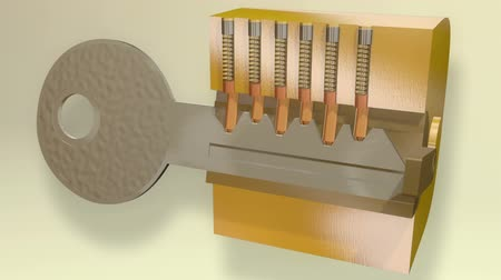 cadarço : Key Lock Mechanism Block 3D Animation. Shows internal lock springs and key turn.