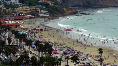 Калифорния : La Jolla Shores Panoramic View People at Beach 4k - California USA