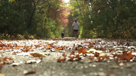 Young girl jogging with her dog down a walking trail on a warm autumn day.