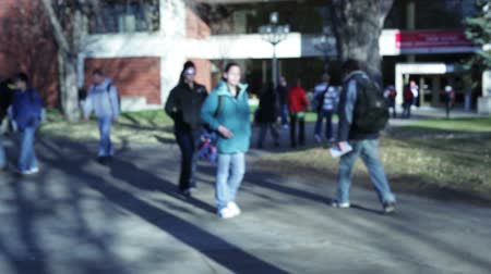 educar : College students walking on a university campus. Stock Footage