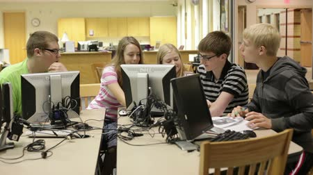 collaborating : A group of students working & researching in the school library (media center) Stock Footage