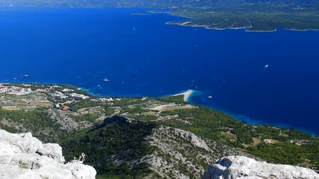 plivat : Landscape of the beach Golden Horn on the island of Brac, Croatia.