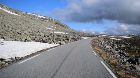 entry : National tourist snow road Aurlandsvegen (f243) running across the mountains. Norway.
