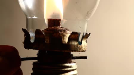 lampa naftowa : Close up of a kerosene lamp Wideo
