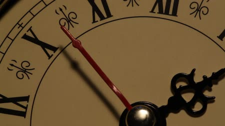 minute hand : Close up of an Old clock face  Stock Footage