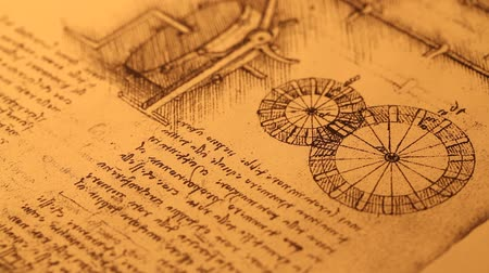davinci : Old Engineering drawing Stock Footage