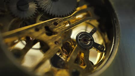 stoper : Close up of an internal clock mechanism Wideo