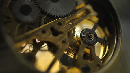 antique grunge : Close up of an internal clock mechanism Stock Footage