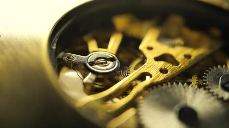 Close up of an internal clock mechanism