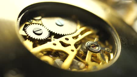 cogwheels : Close up of an internal clock mechanism Stock Footage