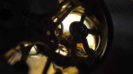 хронометр : Close up of an internal clock mechanism Стоковые видеозаписи
