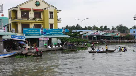 cai : CAN THO,VIETNAM - 03 May, 2017: Unidentified people on floating market in Mekong river delta. Cai Rang and Cai Be markets are very popular among the local citizens and tourists