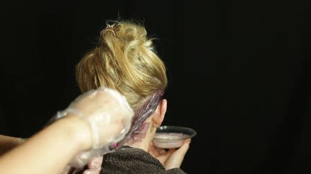branqueamento : Rear view of woman at hairdresser coloring her hair with brush