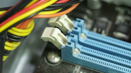 komputer stacjonarny : Closeup of RAM memory slots on motherboard PC