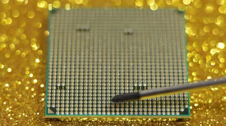 chip and pin : CPU central processor unit of computer and screwdriver Stock Footage